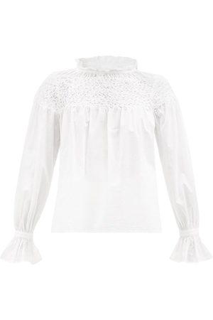Merlette Women Blouses - Majorelle Smocked Cotton-lawn Blouse - Womens