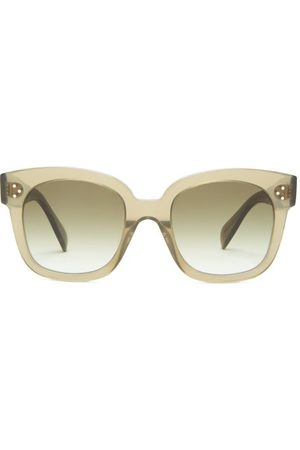 Celine Eyewear Oversized D-frame Acetate And Metal Sunglasses - Womens - Dark