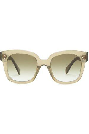 Celine Eyewear Women Square - Oversized Square Acetate And Metal Sunglasses - Womens - Dark
