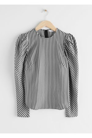& OTHER STORIES Gingham Jacquard Puff Sleeve Top