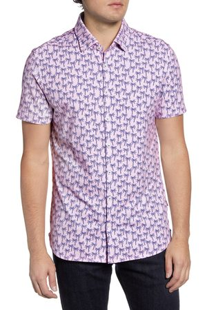 Stone Rose Men's Slim Fit Tropical Short Sleeve Button-Up Performance Shirt