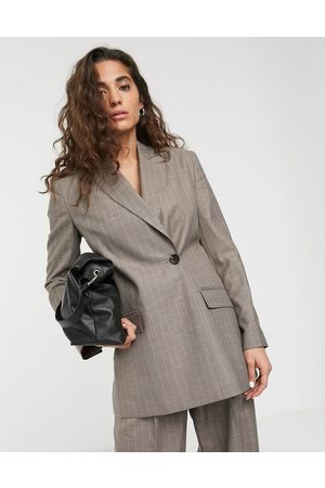 ASOS Wrap suit blazer in pinstripe