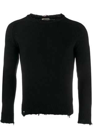 Saint Laurent Distressed-effect crew neck jumper