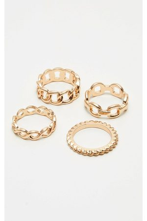 PRETTYLITTLETHING Chain Link Multi Ring Set