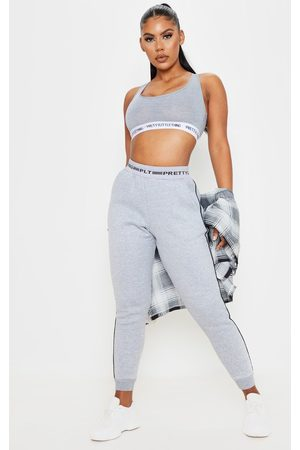 PRETTYLITTLETHING Grey Contrast Piping Cuff Joggers