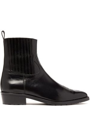 TOGA VIRILIS Men Chelsea Boots - Topstitched Leather Chelsea Boots - Mens