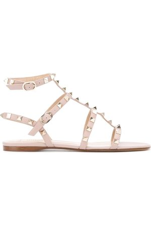 VALENTINO GARAVANI Rockstud ankle strap sandals - Neutrals