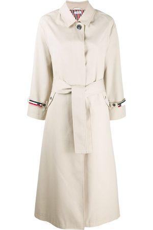 Thom Browne Women Trench Coats - Raglan-sleeve waterproof trench overcoat - Neutrals
