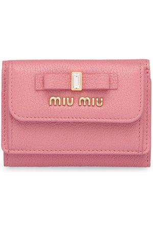 Miu Miu Women Wallets - Bow embellished tri-fold wallet