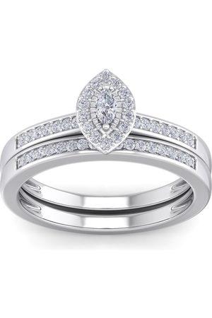SuperJeweler 1/4 Carat Pave Marquise Shape Halo Diamond Bridal Ring Set in Sterling (