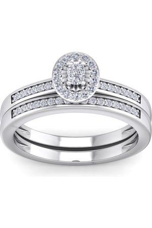 SuperJeweler 1/4 Carat Pave Oval Shape Halo Diamond Bridal Ring Set in Sterling (