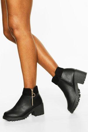 Boohoo Womens O Ring Zip Side Block Heel Chelsea Boots - - 5