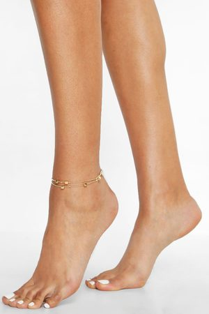 Boohoo Womens Cube Pendant Double Chain Anklet - - One Size