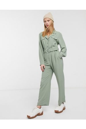 & OTHER STORIES & pocket detail long sleeve jumpsuit in khaki