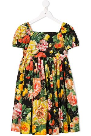Dolce & Gabbana Girls Printed Dresses - Rose print flared dress