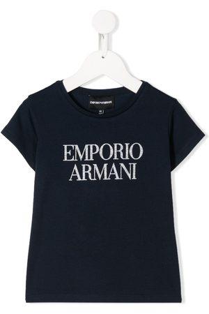 Emporio Armani Short sleeve glitter logo T-shirt
