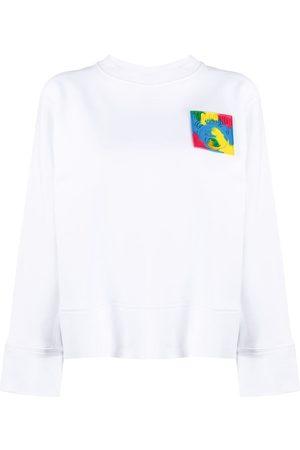 Moschino Women Sweatshirts - Logo-patch long-sleeve sweatshirt