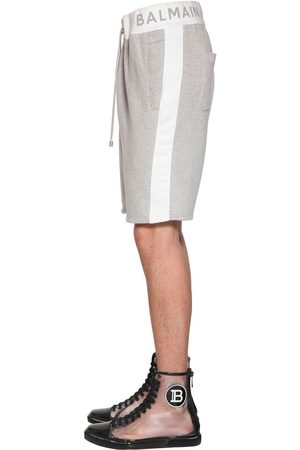 Balmain Logo Ribbed Cotton Jersey Shorts