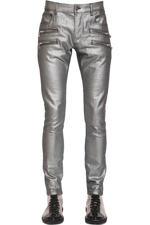 Balmain 15cm Laminated Slim Cotton Denim Jeans
