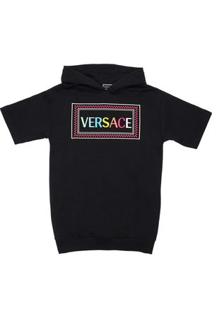 VERSACE Embroidered Logo Cotton Sweat Dress