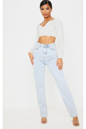 PRETTYLITTLETHING Light Wash Long Leg Straight Jeans