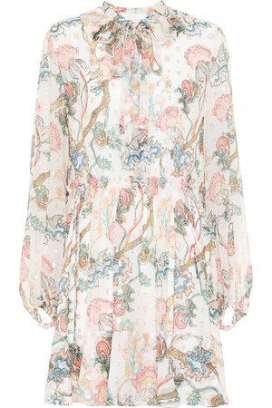 Chloé Embroidered printed silk dress