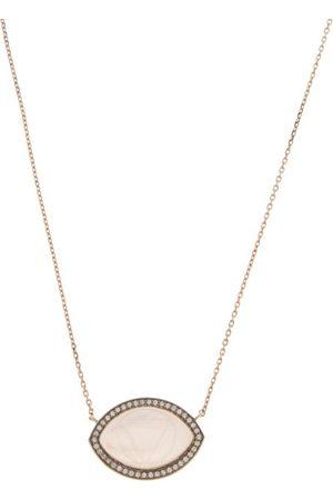 NOOR FARES Ajna Diamond, Quartz & 18kt Gold Pendant Necklace - Womens - Clear