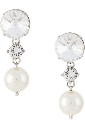 Miu Miu Crystal and pearl drop earrings - Metallic