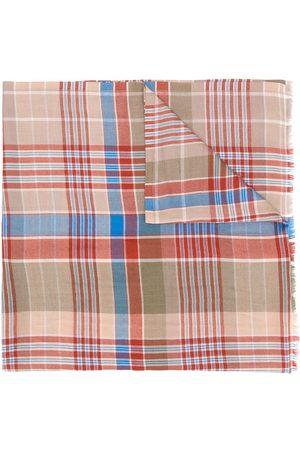 ETRO Men Scarves - Selvedged jacquard tartan pattern scarf - Neutrals
