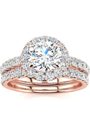 SuperJeweler 2 Carat Round Floating Halo Diamond Bridal Engagement Ring Set in 14k (7 g) (