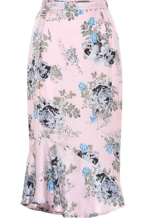 THORNTON BREGAZZI Eleau floral silk-blend midi skirt