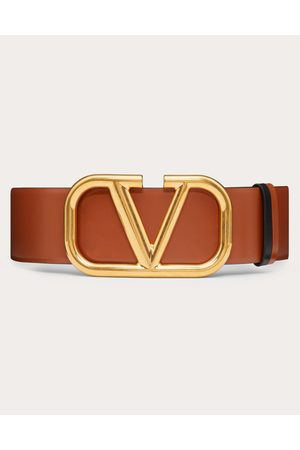 VALENTINO GARAVANI Reversible Vlogo Signature Belt In Glossy Calfskin 70 Mm Women Saddle 100% Pelle Di Vitello - Bos Taurus 65