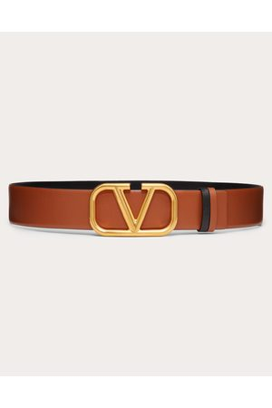 VALENTINO GARAVANI Women Belts - Reversible Vlogo Belt In Glossy Calfskin 40 Mm Women Saddle 100% Pelle Di Vitello - Bos Taurus 70