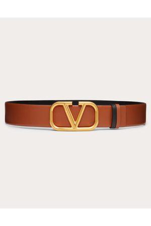 VALENTINO GARAVANI Women Belts - Reversible Vlogo Belt In Glossy Calfskin 40 Mm Women Saddle 100% Pelle Di Vitello - Bos Taurus 70