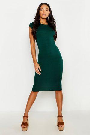 Boohoo Womens Cap Sleeve Jersey Bodycon Midi Dress - - 4