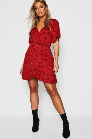 Boohoo Womens Plus Dalmatian Print Ruffle Tea Dress - - 12