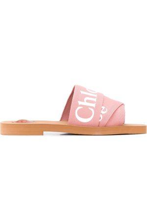 Chloé Women Sandals - Woody logo-strap sandals