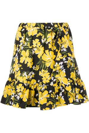 Michael Kors Ruffled-hem floral-print crepe mini skirt