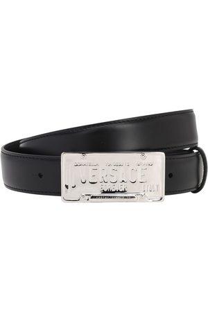 VERSACE 30mm Leather Belt W/logo Buckle