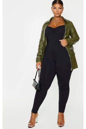 PRETTYLITTLETHING Women Jumpsuits - Plus Cotton Ruched Bust Jumpsuit