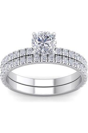 SuperJeweler 2 Carat Round Shape Diamond Bridal Ring Set in (