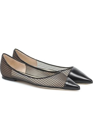 Jimmy choo Love mesh and leather ballet flats