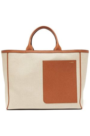 VALEXTRA Shopping Large Canvas And Leather Tote Bag - Womens - Multi