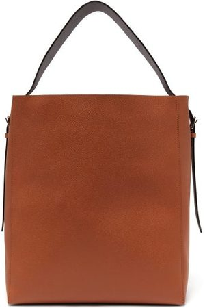 VALEXTRA Adjustable-strap Grained-leather Tote Bag - Womens - Tan