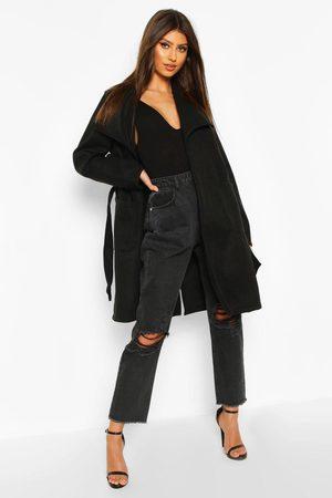 Boohoo Womens Wide Collar Belted Wool Look Coat - - 4