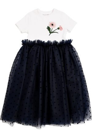 Oscar de la Renta Cotton Jersey & Stretch Tulle Dress