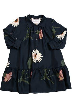 Oscar de la Renta Girls Printed Dresses - Flower Print Silk Satin Dress