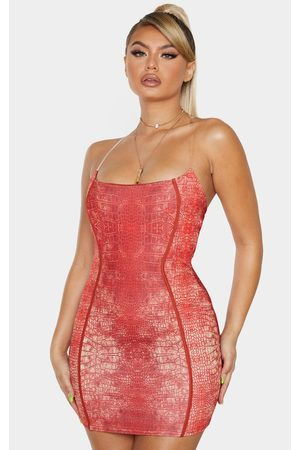 PRETTYLITTLETHING Snake Print Binded Detail Clear Strap Bodycon Dress