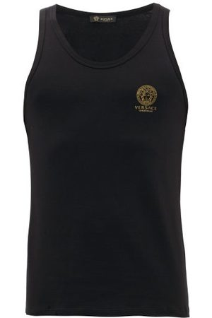 VERSACE Logo-print Stretch-cotton Vest - Mens