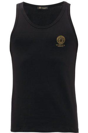 VERSACE Logo-print Stretch-cotton Vest - Mens